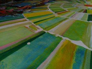 Acrílico e esmalte sobre lienzo 100 x 65 cms.